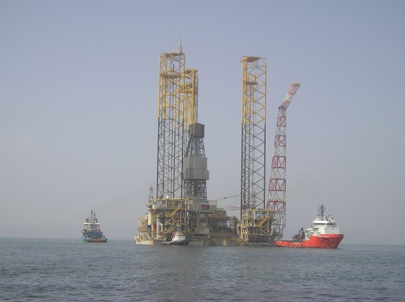 The Shah Deniz Alpha gas platform in the Caspian supplies gas to Europe via a pipeline through Azerbaijan, Georgia and Turkey (photo courtesy of BP p.l.c.)